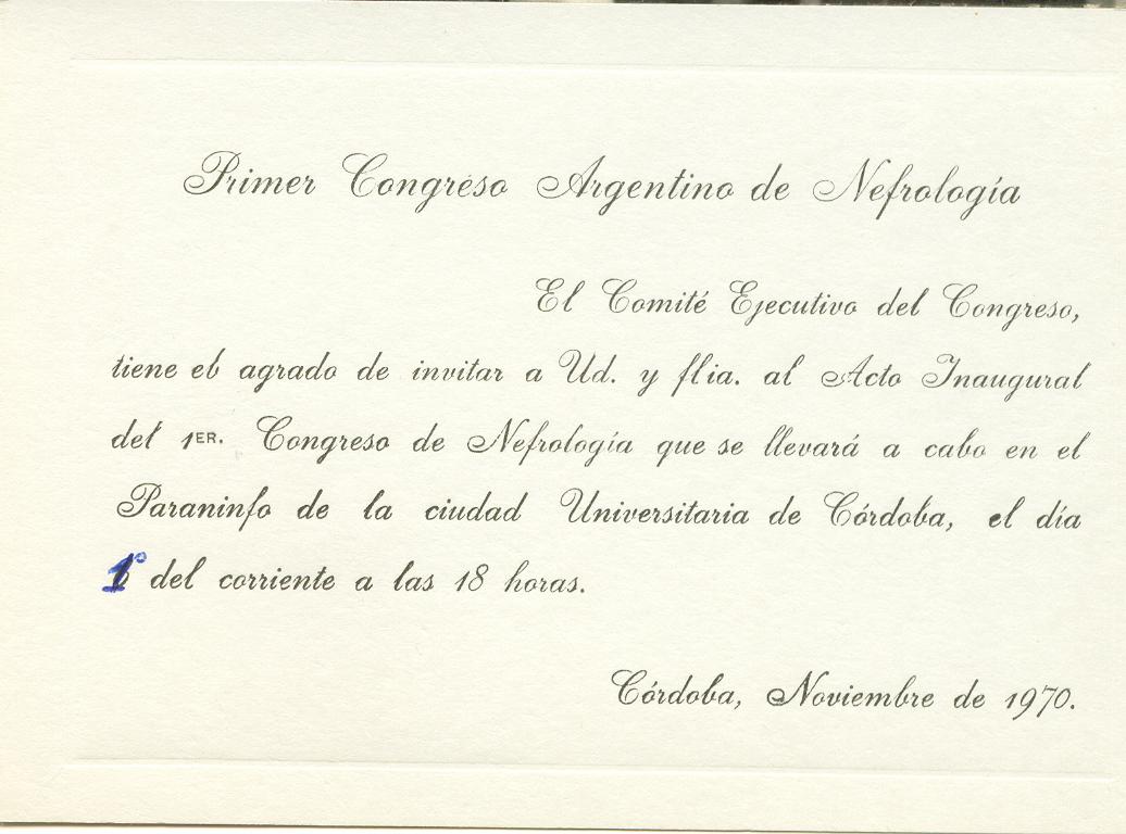1970 - Invitación al Primer Congreso de Nefrología - Río Tercero - Córdoba